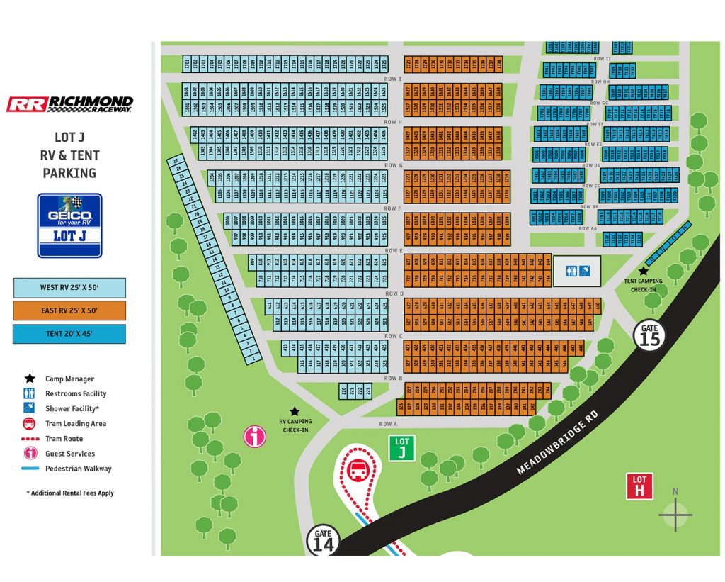 Lot J Campground Map